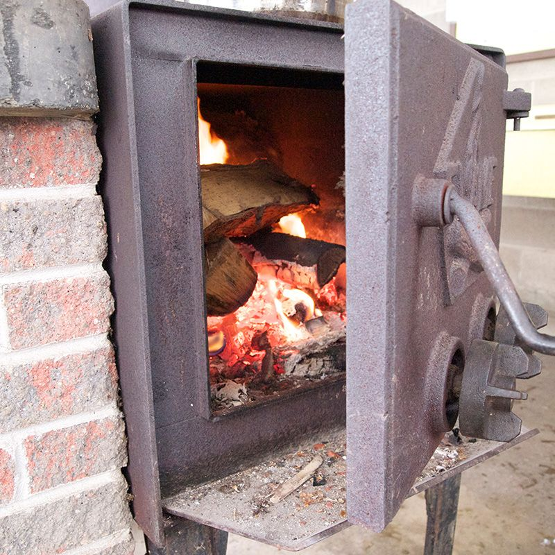Wood stove at Merrimakedge