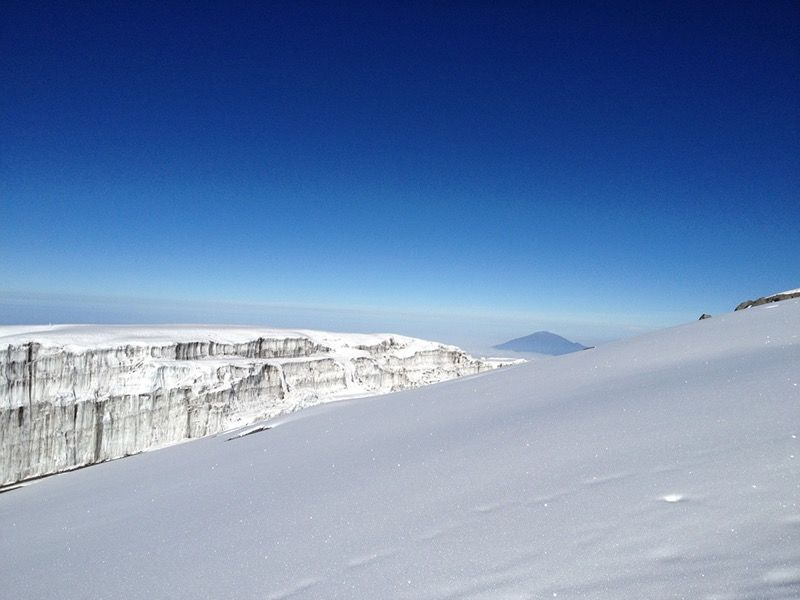 Glacier and mountain from summit of Mount Kilimanjaro