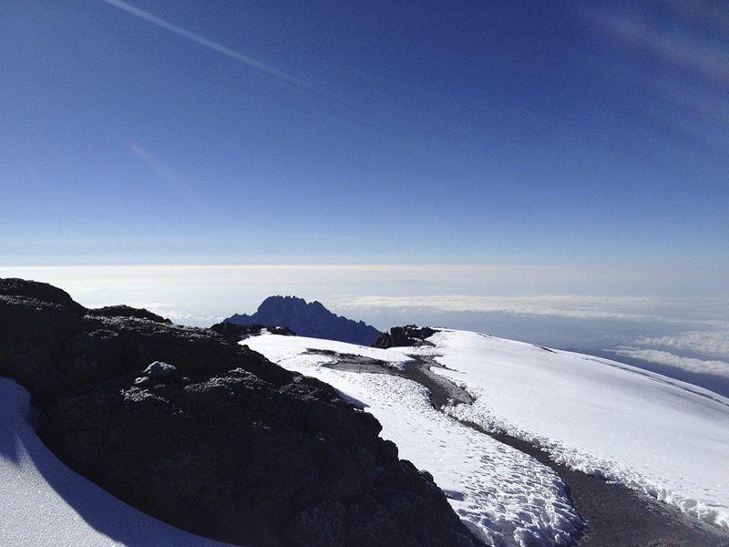 View from summit of Mount Kilimanjaro