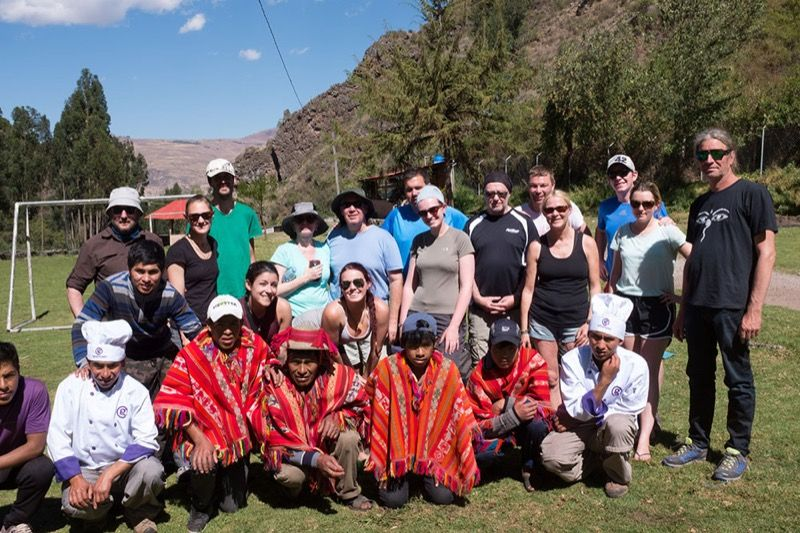 Trekking group at the end of the Lares Trek