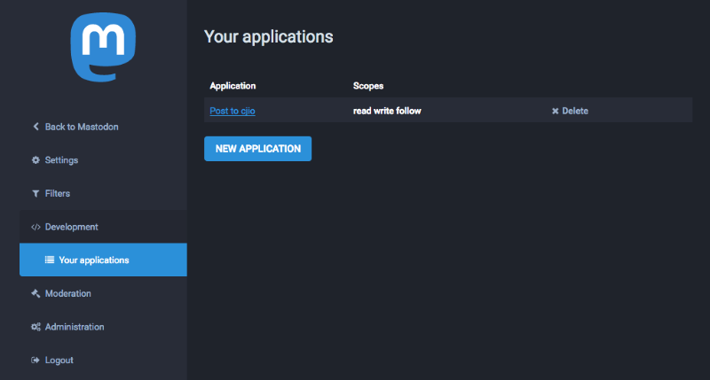 Screenshot of Mastodon settings page