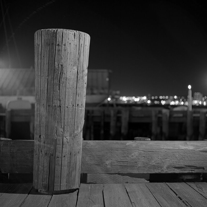 Bollard at night, January 2008