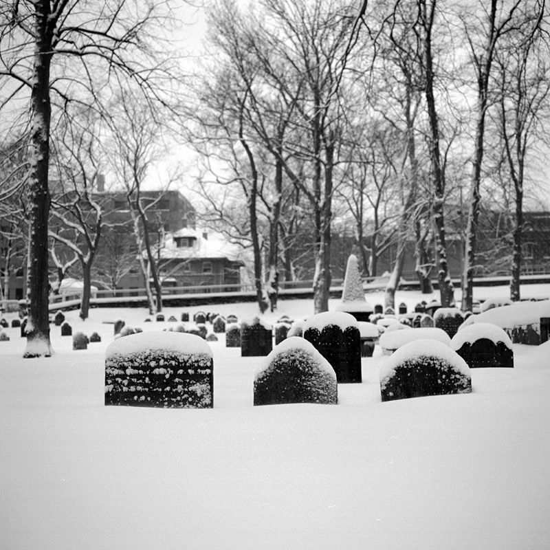 Headstones under snow, Old Burying Ground