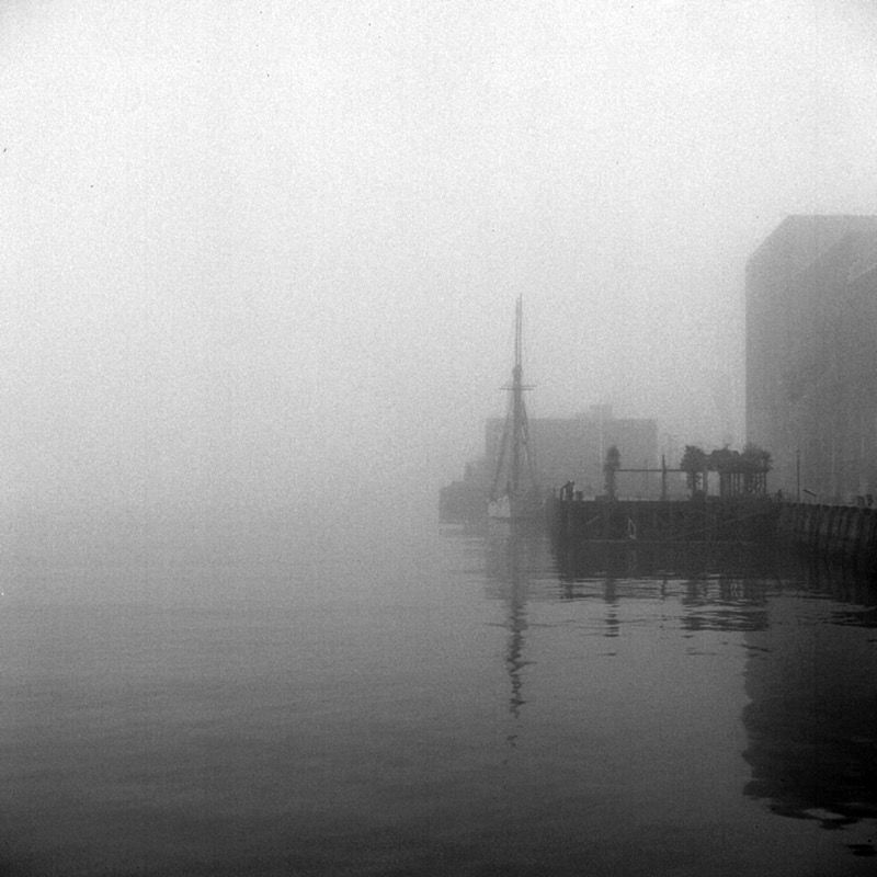 Tall ship quay in fog, July 2008
