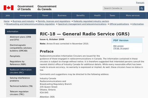 RIC-18 — General Radio Service (GRS) - Spectrum management and telecommunications