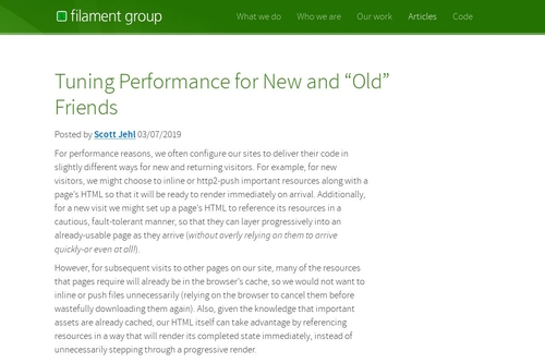 "Tuning Performance for New and ""Old"" Friends 