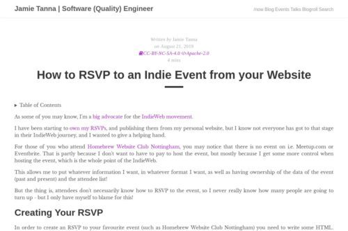 How to RSVP to an Indie Event from your Website · Jamie Tanna | Software (Quality) Engineer